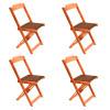 Conjunto De Mesa Dobravel De Madeira 70x70 Com 4 Cadeiras Natural Estofado Marrom