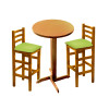 Jogo De Mesa De Madeira Fixo Bistro Natural Com 2 Cadeiras Encosto Anatomico Estofado Verde