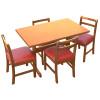 Jogo De Mesa De Madeira Fixo Floripa 1,20x70 Natural Pé H Com 4 Cadeiras Estofado Vermelho