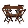 Conjunto De Mesa Dobravel De Madeira 120x70 Com 4 Cadeiras Imbuia Estofado Marrom