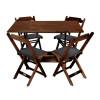 Conjunto De Mesa Dobravel De Madeira 120x70 Com 4 Cadeiras Imbuia Estofado Preto