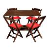 Conjunto De Mesa Dobravel De Madeira 120x70 Com 4 Cadeiras Imbuia Estofado Vermelho