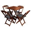 Conjunto De Mesa Dobravel De Madeira 70x70 Com 4 Cadeiras Imbuia Estofado Preto