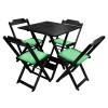 Conjunto De Mesa Dobravel De Madeira 70x70 Com 4 Cadeiras Preto Estofado Verde