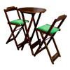 Conjunto Bistro De Madeira Dobravel Redondo 55cm Diametro Com 2 Cadeiras Imbuia Estofado Verde