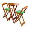 Conjunto Bistro De Madeira Dobravel Redondo 55cm Diametro Com 2 Cadeiras Natural Estofado Verde